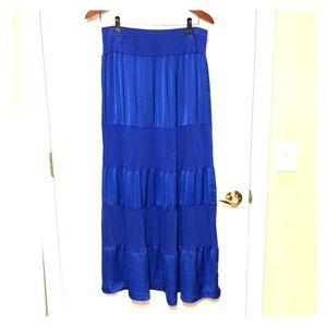 Royal blue long tiered maxi skirt